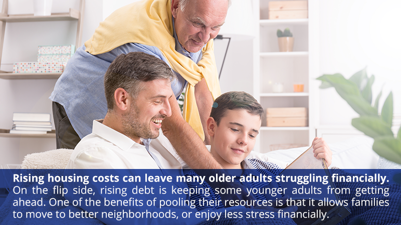Rising housing costs can leave many older adults struggling financially. On the flip side, rising debt is keeping some younger adults from getting ahead. One of the benefits of pooling their resources is that it allows families to move to better neighborhoods, or enjoy less stress financially.