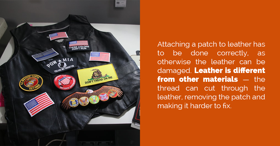 Attaching a patch to leather has to be done correctly, as otherwise the leather can be damaged. Leather is different from other materials — the thread can cut through the leather, removing the patch and making it harder to fix.