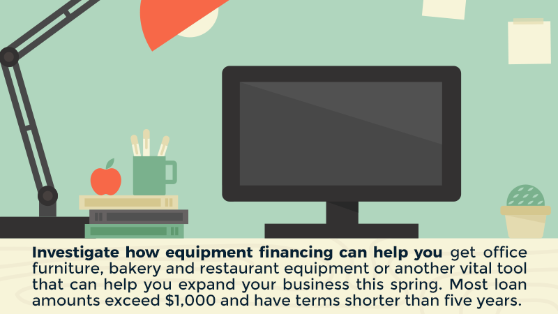 Investigate how equipment financing can help you get office furniture, bakery and restaurant equipment or another vital tool that can help you expand your business this spring. Most loan amounts exceed $1,000 and have terms shorter than five years.