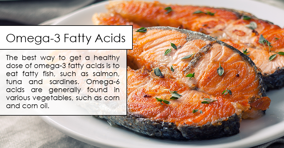 The best way to get a healthy dose of omega-3 fatty acids is to eat fatty fish, such as salmon, tuna and sardines. Omega-6 acids are generally found in various vegetables, such as corn and corn oil.