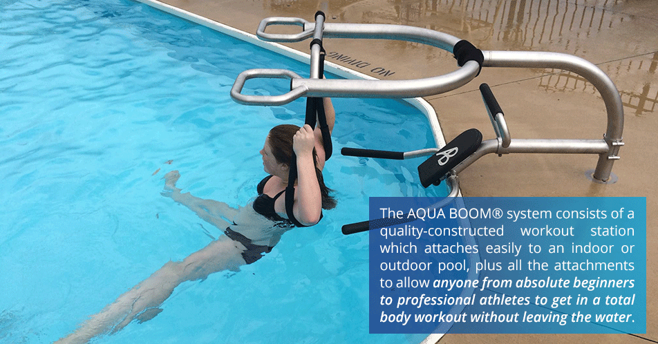 The AQUA BOOM system consists of a quality-constructed workout station which attaches easily to an indoor or outdoor pool, plus all the attachments to allow anyone from absolute beginners to professional athletes to get in a total body workout without leaving the water.