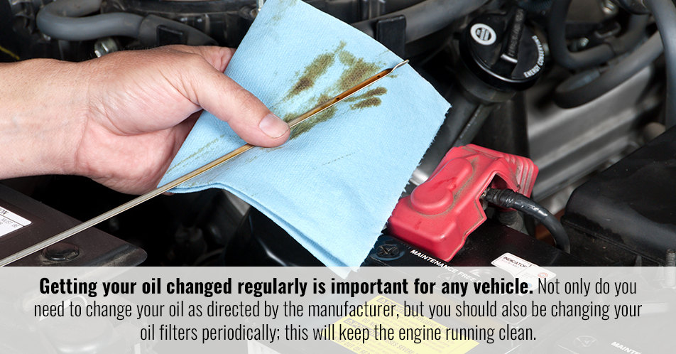 Getting your oil changed regularly is important for any vehicle. Not only do you need to change your oil as directed by the manufacturer, but you should also be changing your oil filters periodically; this will keep the engine running clean.