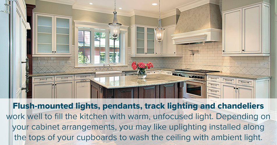 Flush-mounted lights, pendants, track lighting and chandeliers work well to fill the kitchen with warm, unfocused light. Depending on your cabinet arrangements, you may like uplighting installed along the tops of your cupboards to wash the ceiling with ambient light.