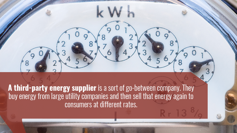 A third-party energy supplier is a sort of go-between company. They buy energy from large utility companies and then sell that energy again to consumers at different rates.
