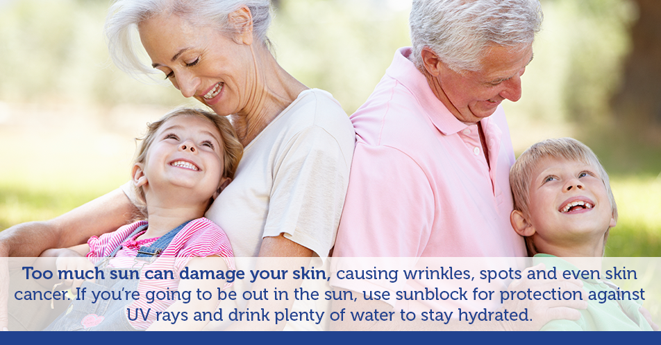 Too much sun can damage your skin, causing wrinkles, spots and even skin cancer. If you're going to be out in the sun, use sunblock for protection against UV rays and drink plenty of water to stay hydrated.