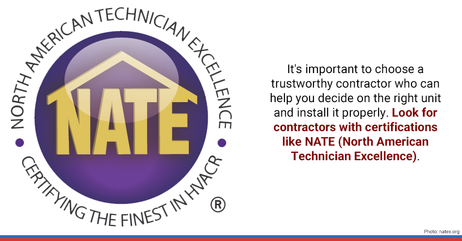 It's important to choose a trustworthy contractor who can help you decide on the right unit and install it properly. Look for contractors with certifications like NATE (North American Technician Excellence).