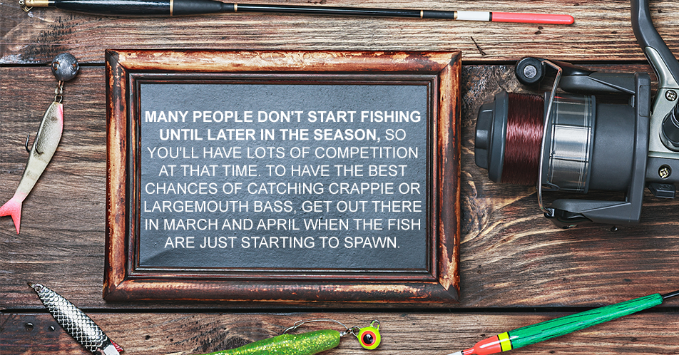 Many people don't start fishing until later in the season, so you'll have lots of competition at that time. To have the best chances of catching crappie or largemouth bass, get out there in March and April when the fish are just starting to spawn.