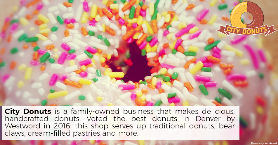 City Donuts is a family-owned business that makes delicious, handcrafted donuts. Voted the best donuts in Denver by Westword in 2016, this shop serves up traditional donuts, bear claws, cream-filled pastries and more.