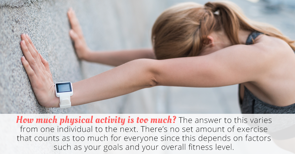 How much physical activity is too much? The answer to this varies from one individual to the next. There's no set amount of exercise that counts as too much for everyone since this depends on factors such as your goals and your overall fitness level.