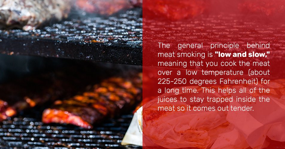 """The general principle behind meat smoking is """"low and slow,"""" meaning that you cook the meat over a low temperature (about 225-250 degrees Fahrenheit) for a long time. This helps all of the juices to stay trapped inside the meat so it comes out tender."""