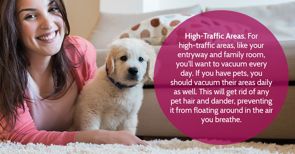 High-Traffic Areas. For high-traffic areas, like your entryway and family room, you'll want to vacuum every day. If you have pets, you should vacuum their areas daily as well. This will get rid of any pet hair and dander, preventing it from floating around in the air you breathe.