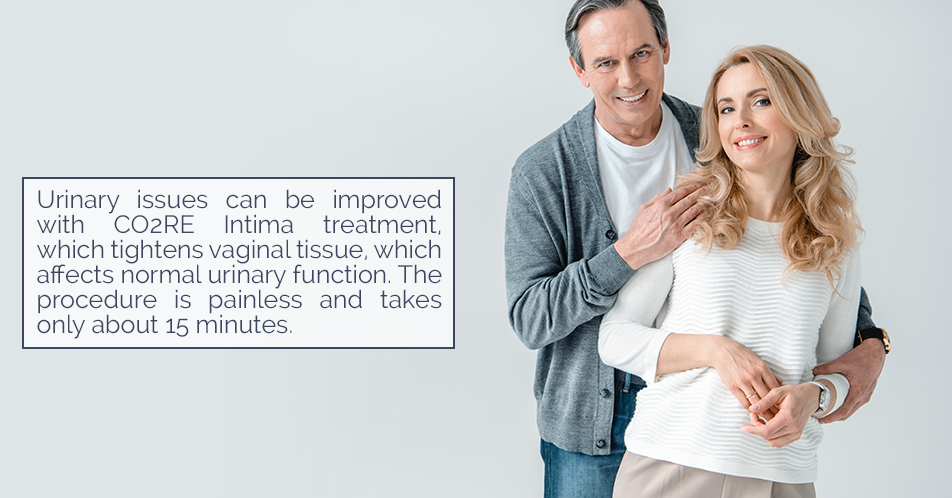 Urinary issues can be improved with CO2RE Intima treatment, which tightens vaginal tissue, which affects normal urinary function. The procedure is painless and takes only about 15 minutes.