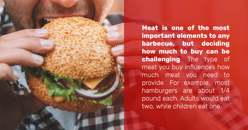 Meat is one of the most important elements to any barbecue, but deciding how much to buy can be challenging. The type of meat you buy influences how much meat you need to provide. For example, most hamburgers are about 1/4 pound each. Adults would eat two, while children eat one.