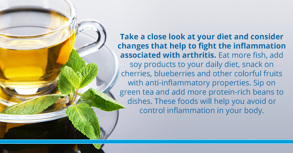 Take a close look at your diet and consider changes that help to fight the inflammation associated with arthritis. Eat more fish, add soy products to your daily diet, snack on cherries, blueberries and other colorful fruits with anti-inflammatory properties. Sip on green tea and add more protein-rich beans to dishes. These foods will help you avoid or control inflammation in your body.