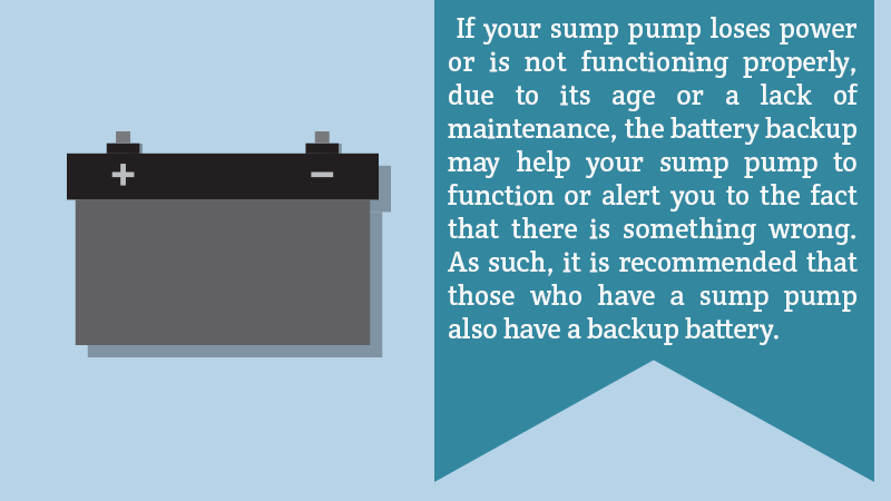 If your sump pump loses power or is not functioning properly, due to its age or a lack of maintenance, the battery backup may help your sump pump to function or alert you to the fact that there is something wrong. As such, it is recommended that those who have a sump pump also have a backup battery.