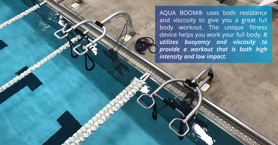 AQUA BOOM® uses both resistance and viscosity to give you a great full body workout. The unique fitness device helps you work your full body. It utilizes buoyancy and viscosity to provide a workout that is both high intensity and low impact.