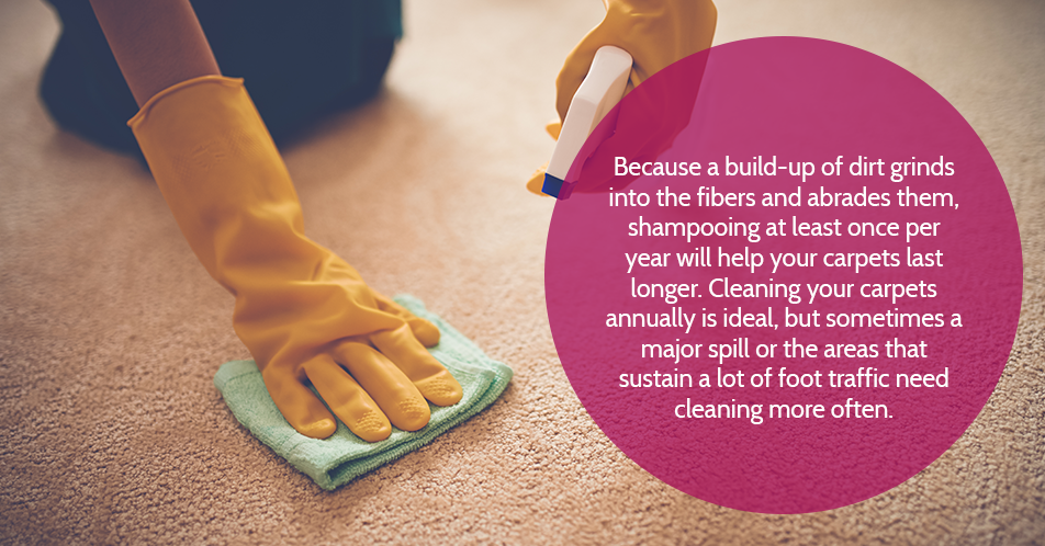 Because a build-up of dirt grinds into the fibers and abrades them, shampooing at least once per year will help your carpets last longer. Cleaning your carpets annually is ideal, but sometimes a major spill or the areas that sustain a lot of foot traffic need cleaning more often.