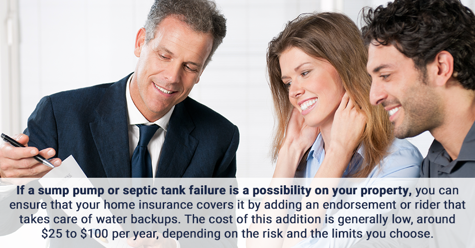 If a sump pump or septic tank failure is a possibility on your property, you can ensure that your home insurance covers it by adding an endorsement or rider that takes care of water backups. The cost of this addition is generally low, around $25 to $100 per year, depending on the risk and the limits you choose.