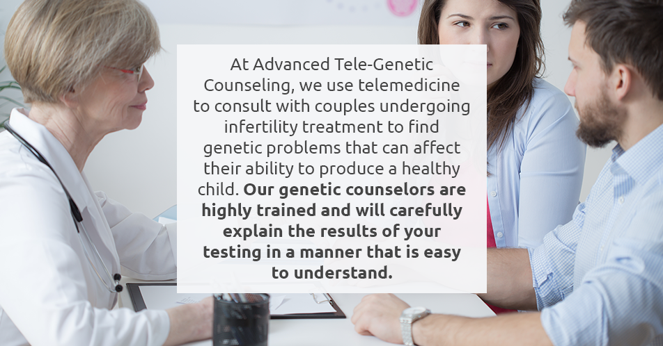 At Advanced Tele-Genetic Counseling, we use telemedicine to consult with couples undergoing infertility treatment to find genetic problems that can affect their ability to produce a healthy child. Our genetic counselors are highly trained and will carefully explain the results of your testing in a manner that is easy to understand.
