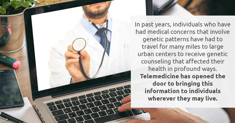 In past years, individuals who have had medical concerns that involve genetic patterns have had to travel for many miles to large urban centers to receive genetic counseling that affected their health in profound ways. Telemedicine has opened the door to bringing this information to individuals wherever they may live.