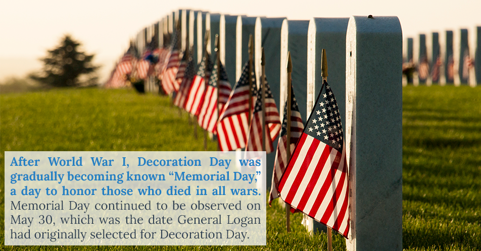 """After World War I, Decoration Day was gradually becoming known """"Memorial Day,"""" a day to honor those who died in all wars. Memorial Day continued to be observed on May 30, which was the date General Logan had originally selected for Decoration Day."""