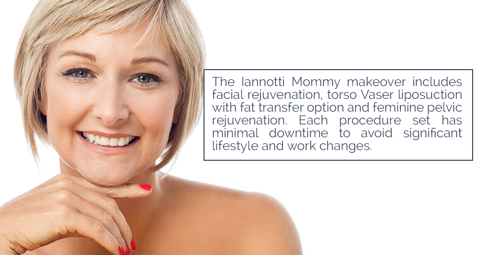 A mommy makeover is a collection of surgical treatments designed to get your body back into shape fast. Mommy makeovers include liposuction, fat transfers, internal and external vaginal rejuvenation, and a combination of skin tightening, microneedling, or facial rejuvenation.