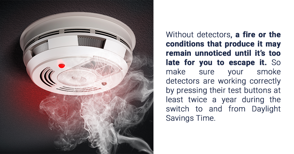 Without detectors, a fire or the conditions that produce it may remain unnoticed until it's too late for you to escape it. So make sure your smoke detectors are working correctly by pressing their test buttons at least twice a year during the switch to and from Daylight Saving Time.