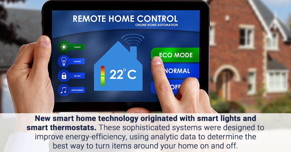 New smart home technology originated with smart lights and smart thermostats. These sophisticated systems were designed to improve energy-efficiency, using analytic data to determine the best way to turn items around your home on and off.
