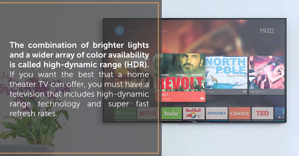 The combination of brighter lights and a wider array of color availability is called high-dynamic range (HDR). If you want the best that a home theater TV can offer, you must have a television that includes high-dynamic range technology and super fast refresh rates