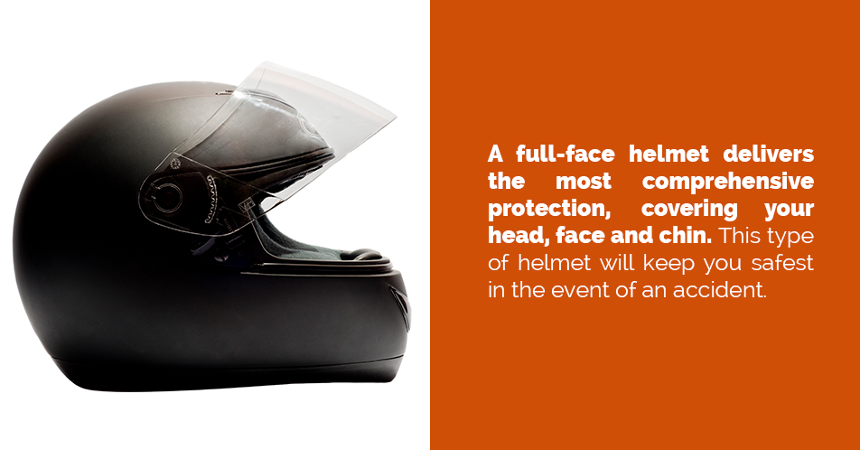 A full-face helmet delivers the most comprehensive protection, covering your head, face and chin. This type of helmet will keep you safest in the event of an accident.