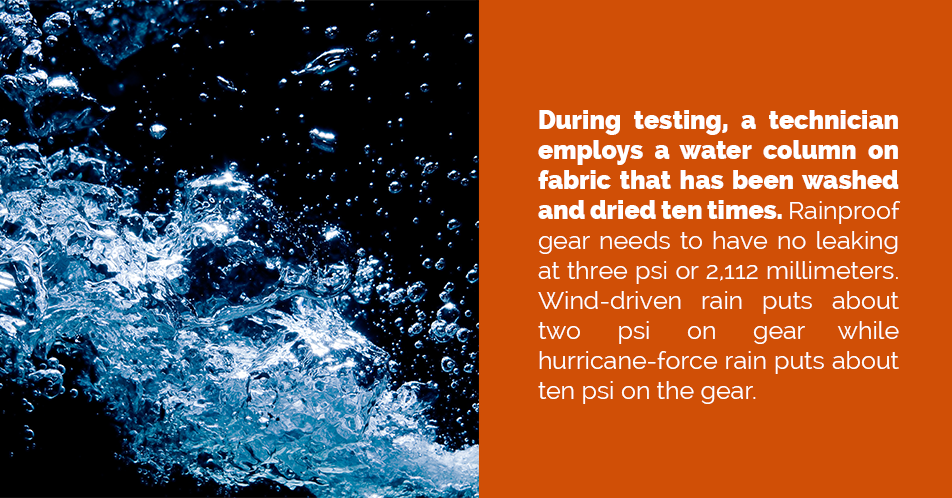 During testing, a technician employs a water column on fabric that has been washed and dried ten times. Rainproof gear needs to have no leaking at three psi or 2,112 millimeters. Wind-driven rain puts about two psi on gear while hurricane-force rain puts about ten psi on the gear.