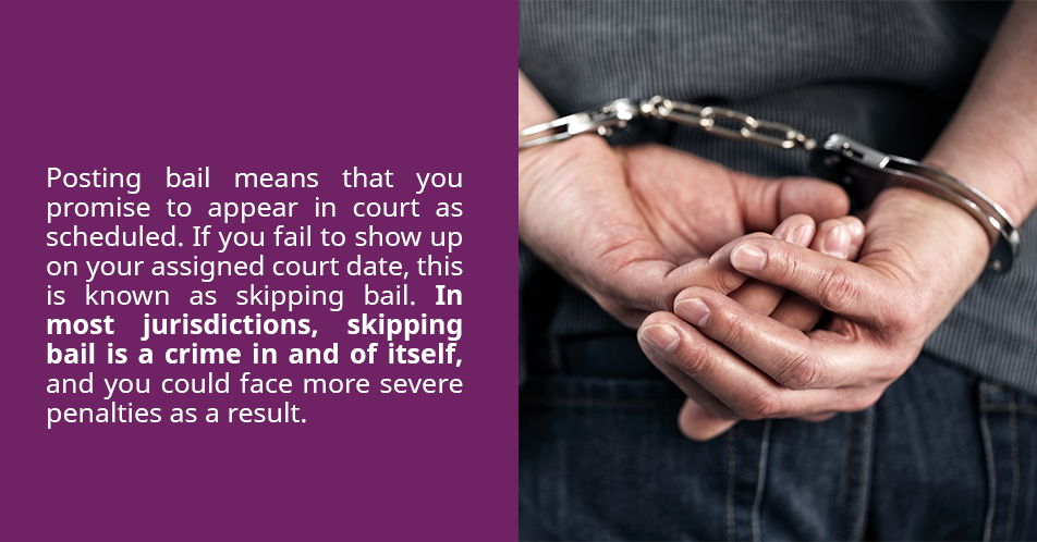 Posting bail means that you promise to appear in court as scheduled. If you fail to show up on your assigned court date, this is known as skipping bail. In most jurisdictions, skipping bail is a crime in and of itself, and you could face more severe penalties as a result.