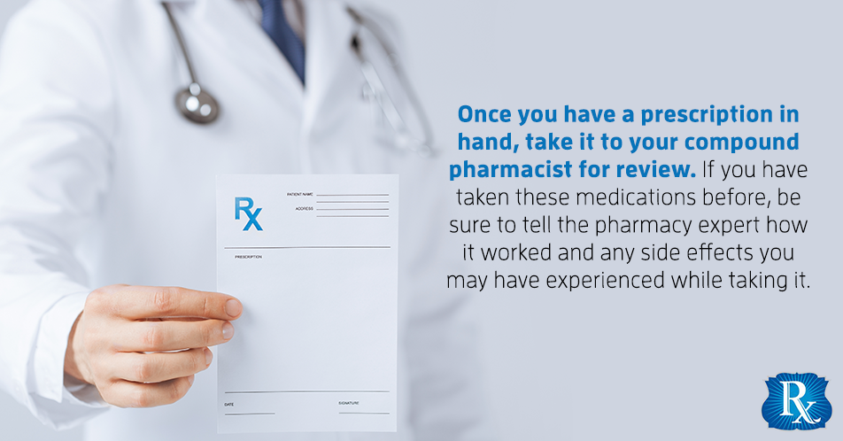 Once you have a prescription in hand, take it to your compound pharmacist for review. If you have taken these medications before, be sure to tell the pharmacy expert how it worked and any side effects you may have experienced while taking it.
