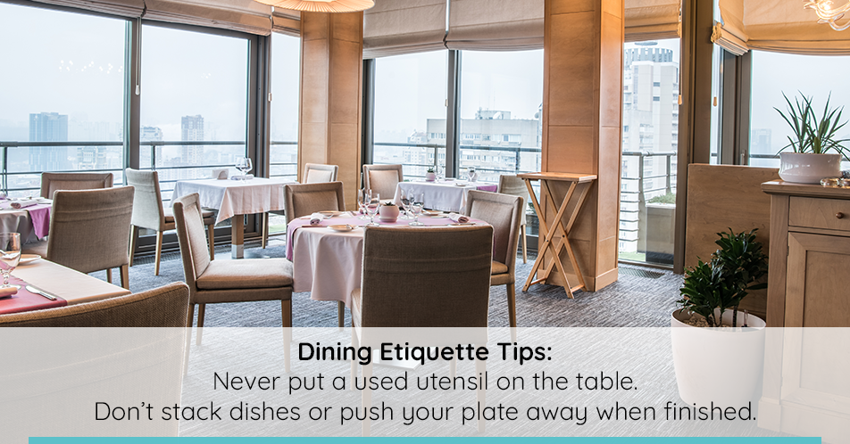 Not sure where you should return something to the table after picking it up? Quick tip: your beverage always goes to the right of your plate, while your bread plate should be placed on the left.