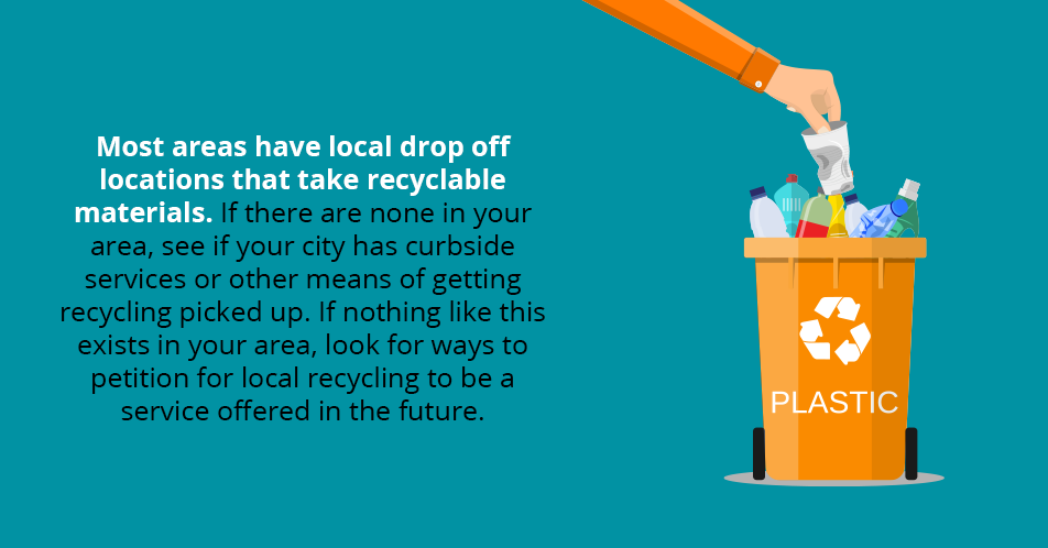 Most areas have local drop off locations that take recyclable materials. If there are none in your area, see if your city has curbside services or other means of getting recycling picked up. If nothing like this exists in your area, look for ways to petition for local recycling to be a service offered in the future.