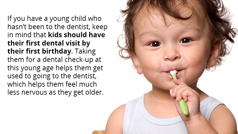 If you have a young child who hasn't been to the dentist, keep in mind that kids should have their first dental visit by their first birthday. Taking them for a dental check-up at this young age helps them get used to going to the dentist, which helps them feel much less nervous as they get older.