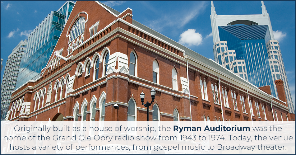 Originally built as a house of worship, the Ryman Auditorium was the home of the Grand Ole Opry radio show from 1943 to 1974. Today, the venue hosts a variety of performances, from gospel music to Broadway theater.