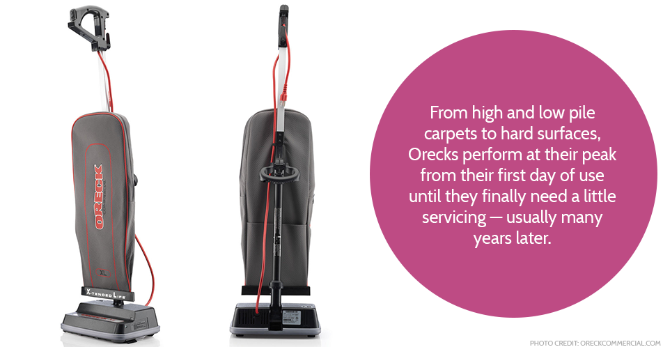 From high and low pile carpets to hard surfaces, Orecks perform at their peak from their first day of use until they finally need a little servicing — usually many years later.