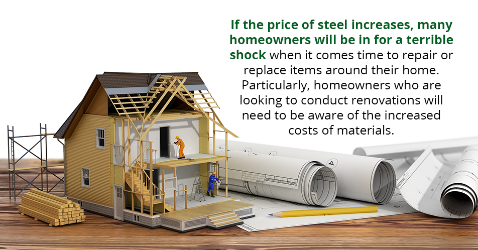 If the price of steel increases, many homeowners will be in for a terrible shock when it comes time to repair or replace items around their home. Particularly, homeowners who are looking to conduct renovations will need to be aware of the increased costs of materials.