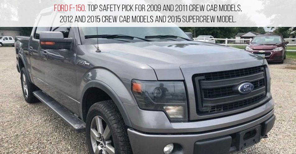 Ford F-150. Top Safety Pick for 2009 and 2011 crew cab models, 2012 and 2015 crew cab models and 2015 SuperCrew model.