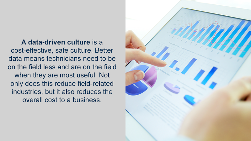 A data-driven culture is a cost-effective, safe culture. Better data means technicians need to be on the field less and are on the field when they are most useful. Not only does this reduce field-related industries, but it also reduces the overall cost to a business.