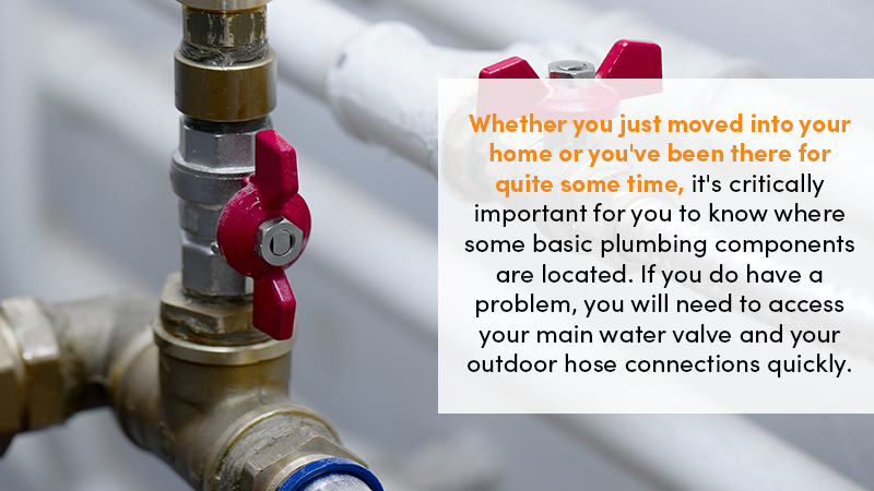 Whether you just moved into your home or you've been there for quite some time, it's critically important for you to know where some basic plumbing components are located. If you do have a problem, you will need to access your main water valve and your outdoor hose connections quickly.