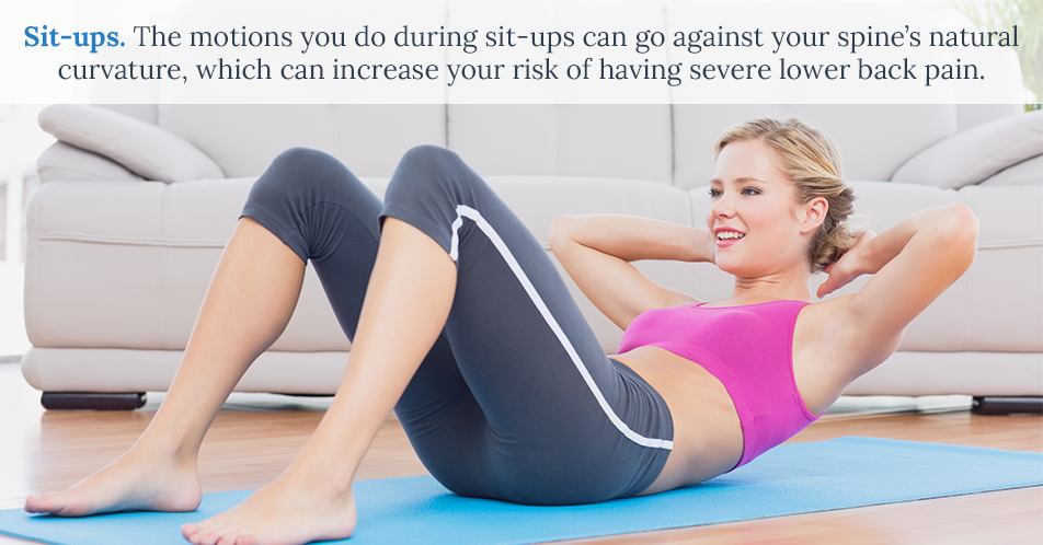 Sit-ups. The motions you do during sit-ups can go against your spine's natural curvature, which can increase your risk of having severe lower back pain.