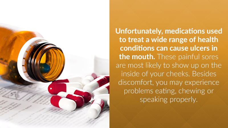 Unfortunately, medications used to treat a wide range of health conditions can cause ulcers in the mouth. These painful sores are most likely to show up on the inside of your cheeks. Besides discomfort, you may experience problems eating, chewing or speaking properly.