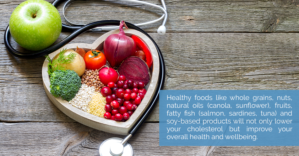Healthy foods like whole grains, nuts, natural oils (canola, sunflower), fruits, fatty fish (salmon, sardines, tuna) and soy-based products will not only lower your cholesterol but improve your overall health and wellbeing.