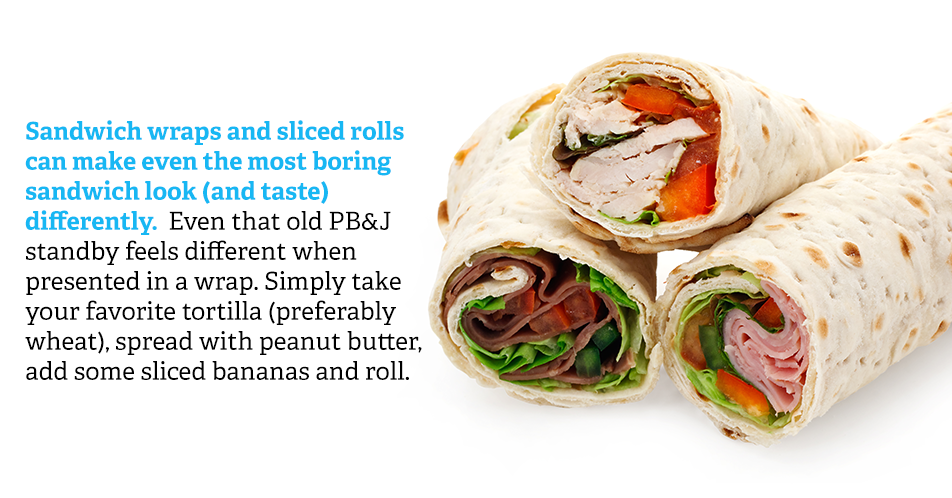 Sandwich wraps and sliced rolls can make even the most boring sandwich look (and taste) differently. Even that old PB&J standby feels different when presented in a wrap. Simply take your favorite tortilla (preferably wheat), spread with peanut butter, add some sliced bananas and roll.