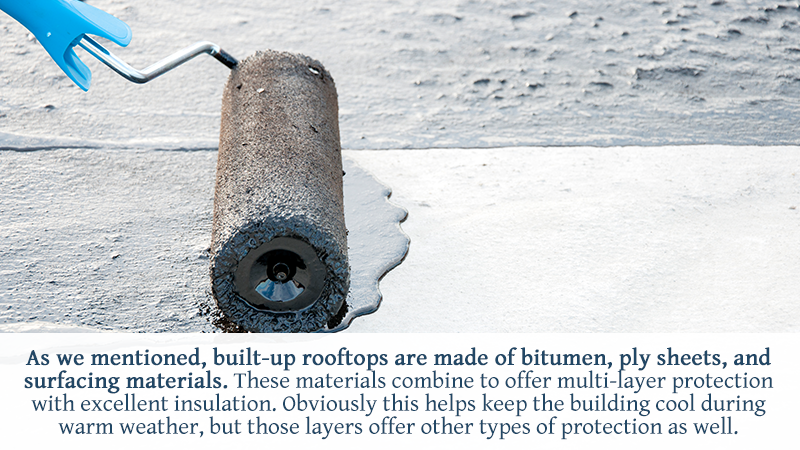 As we mentioned, built-up rooftops are made of bitumen, ply sheets, and surfacing materials. These materials combine to offer multi-layer protection with excellent insulation. Obviously this helps keep the building cool during warm weather, but those layers offer other types of protection as well.