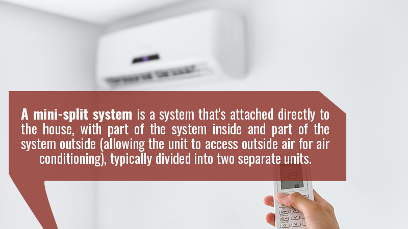 A mini-split system is a system that's attached directly to the house, with part of the system inside and part of the system outside (allowing the unit to access outside air for air conditioning), typically divided into two separate units.