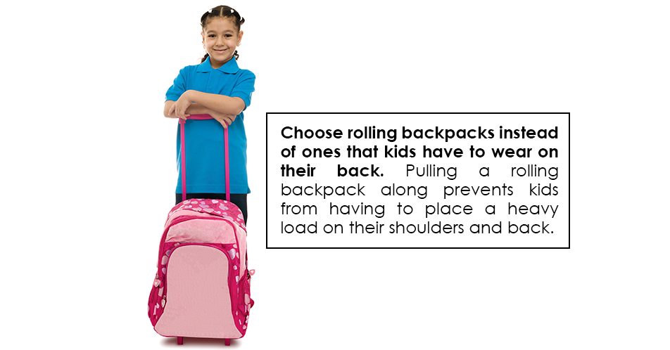 Choose rolling backpacks instead of ones that kids have to wear on their back. Pulling a rolling backpack along prevents kids from having to place a heavy load on their shoulders and back.