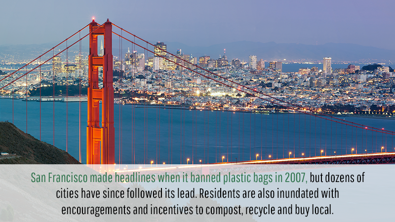 San Francisco made headlines when it banned plastic bags in 2007, but dozens of cities have since followed its lead. Residents are also inundated with encouragements and incentives to compost, recycle and buy local.